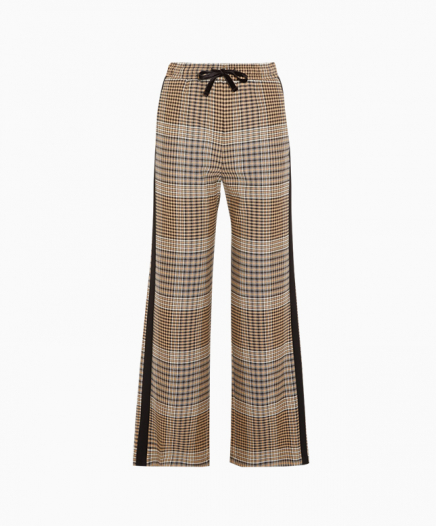 Pantalon Fluide à Carreaux Lien Jacquard