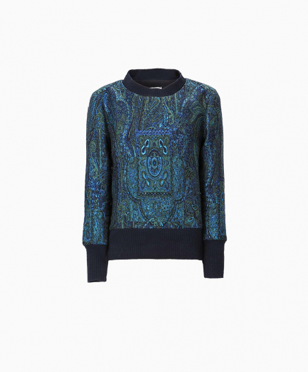 Sweat Jacquard Bleu