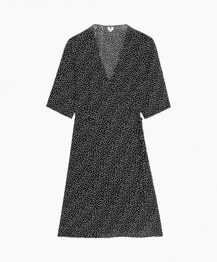 Robe Floral Wrap Dress Black