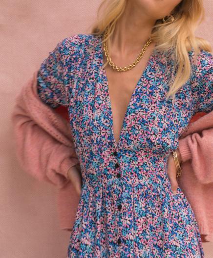 Robe Fleurie Bleue