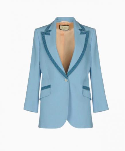 Blazer en laine bleu clair