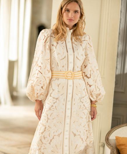 Robe Empire Broderie Long
