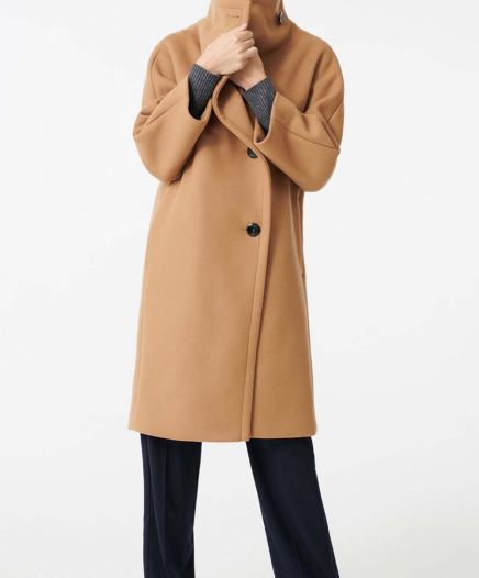 Manteau Long Grand Col en Drap de Laine