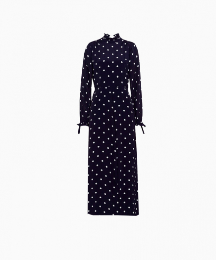 Robe Ruffle collar Polka Dot