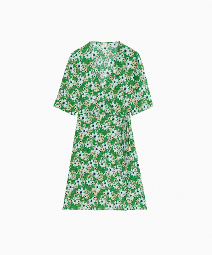 Robe Floral Wrap Dress Green
