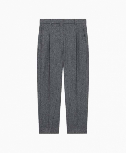 Pantalon à Pinces en Laine Mélangée