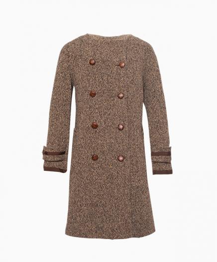 manteau tweed marron