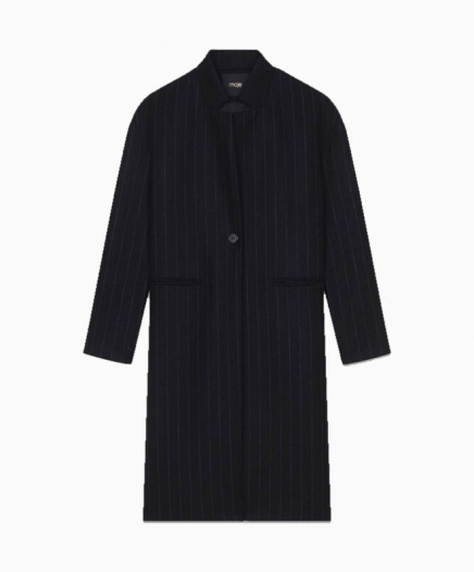 Manteau Droit à Fines Rayures