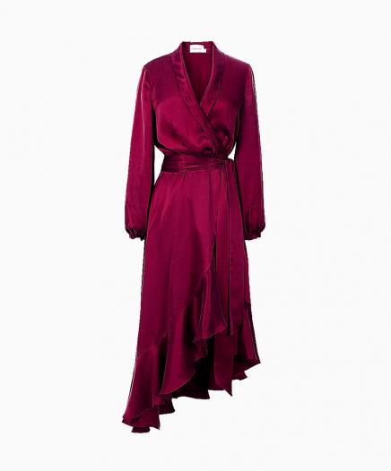 Robe Wrap Flounce Bordeaux