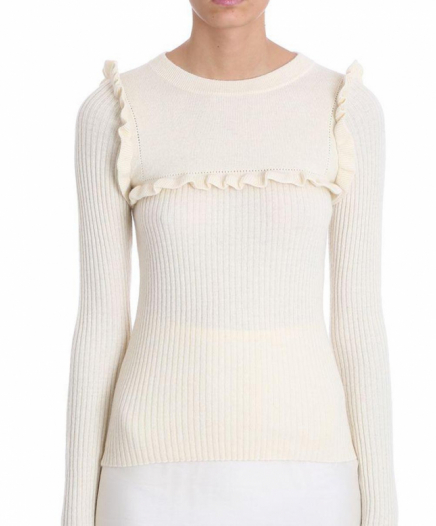 Beige Ruffle Sweater