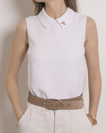 Top Broderie col claudine