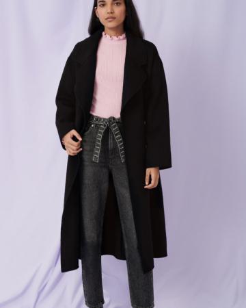 Manteau en double face ceinturé