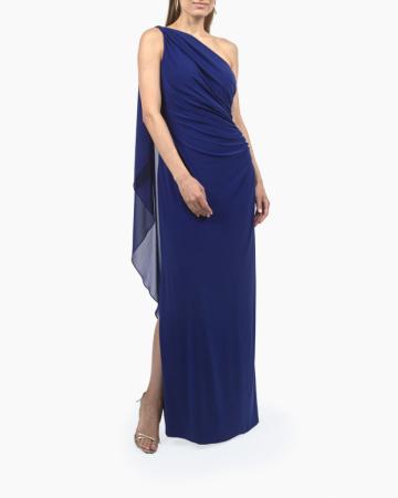 Robe Georgette Cape Gown
