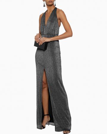 Metallic Ribbed Knit Dress