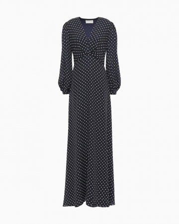 Robe Navy Polka Dot