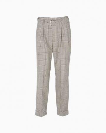 Pantalon carotte imprimé Prince-de-Galles en laine mélangée