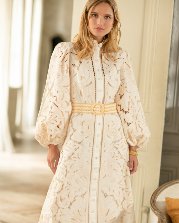 Robe Empire Broderie Long