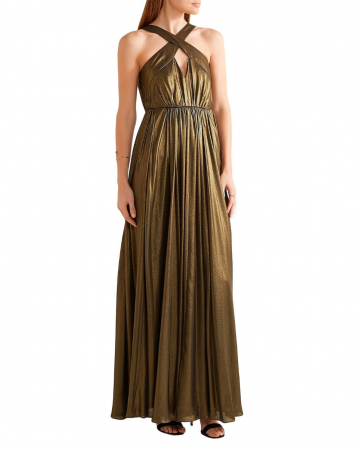 Robe Cutout Pleated Lamé Gown