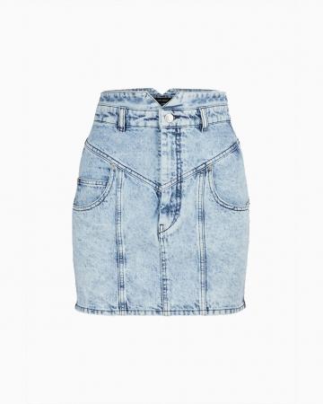Jupe en jean mouchetée