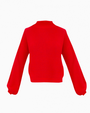 Pull Rouge manches bouffantes