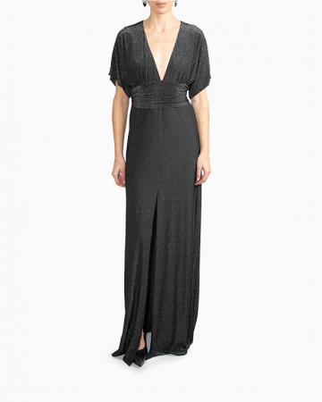 Metallic Crepe Gown Dress