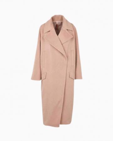 Manteau col tailleur long oversize