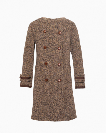 manteau tweed marron