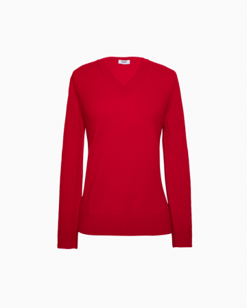 Pull Col V Cachemire Rouge