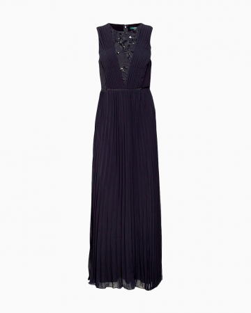 Robe Pleated Chiffon Gown