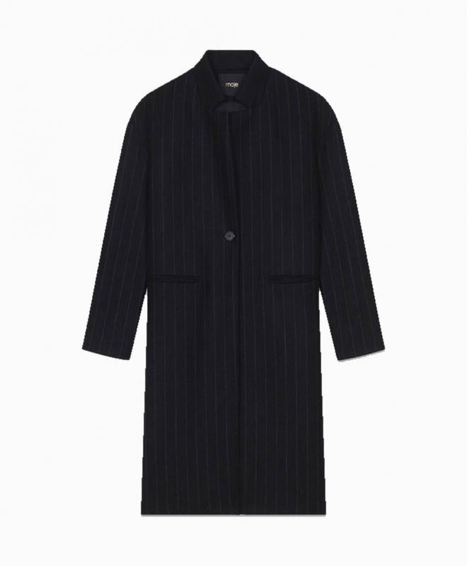 Manteau Droit à Fines Rayures 1