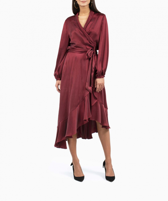 ZIMMERMANN dress rental Wrap Flounce Burgundy. 4