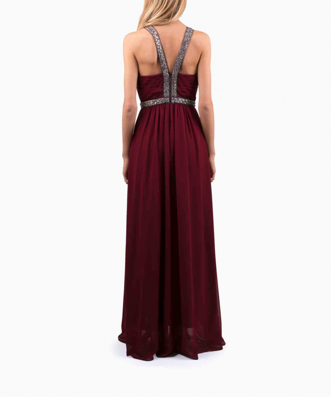 BCBG long dress rental Burgundy Stone. 3