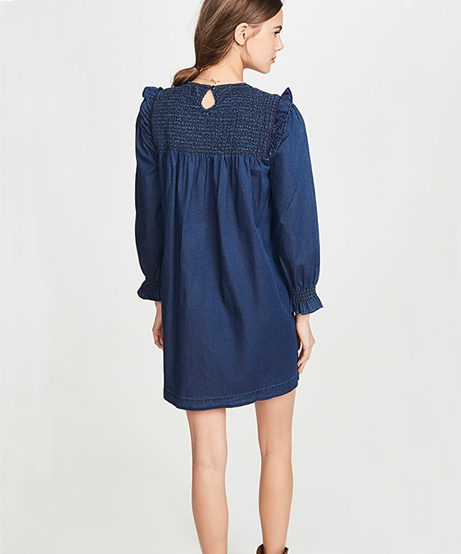 Location Robe MADEWELL Indigo Ruffle Neck Smocked Babydoll 5