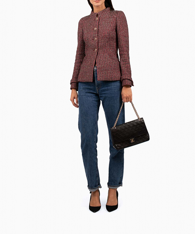 Location veste Chanel Tweed Bordeaux 2
