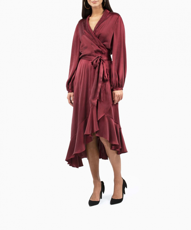 Location robe Zimmermann Wrap Flounce Bordeaux 2