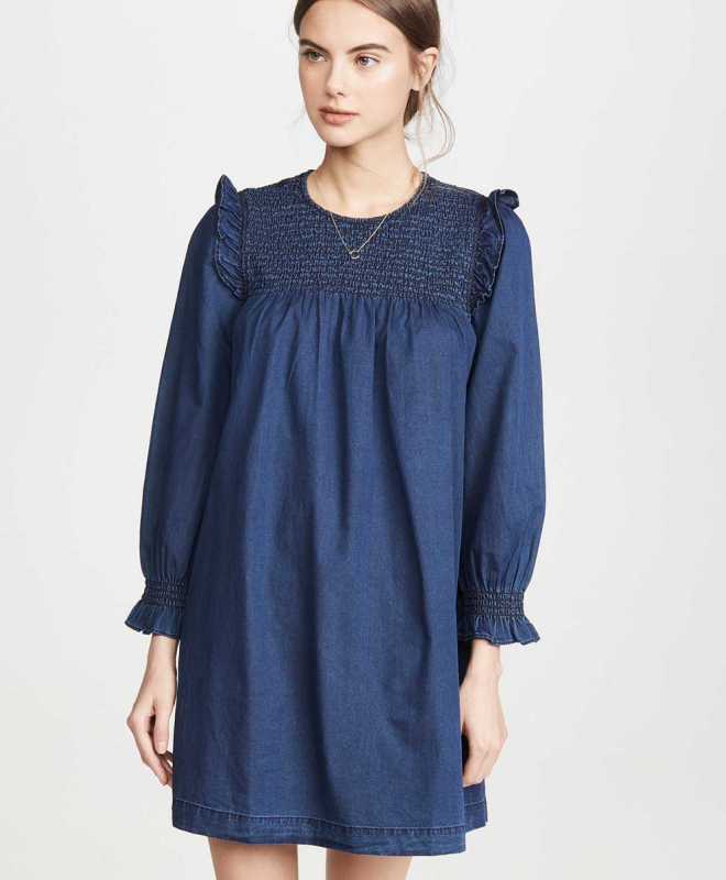 Location Robe MADEWELL Indigo Ruffle Neck Smocked Babydoll 3