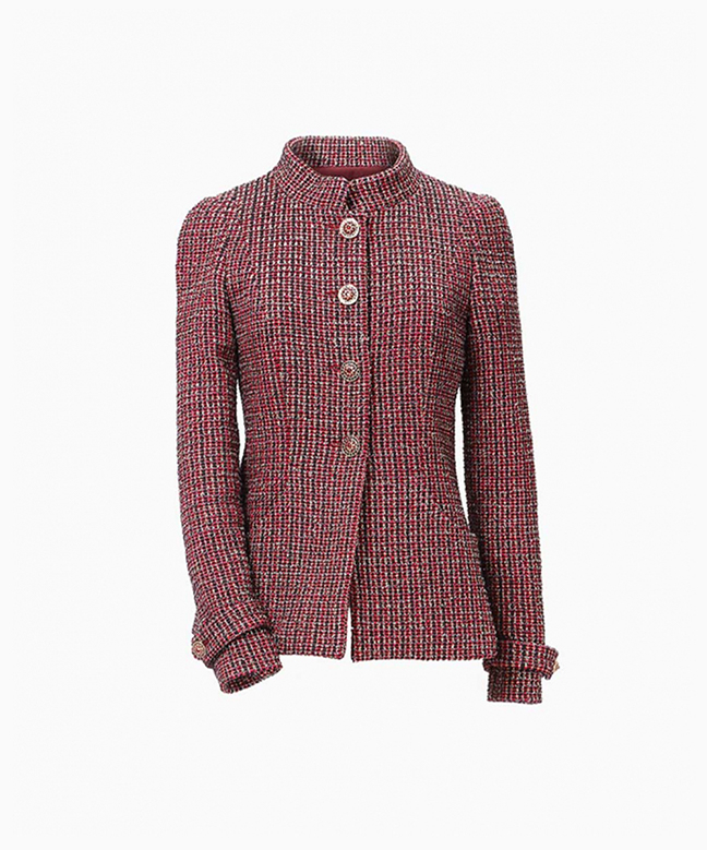 Location veste Chanel Tweed Bordeaux 1