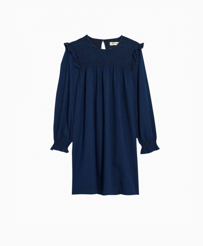Location Robe MADEWELL Indigo Ruffle Neck Smocked Babydoll 2