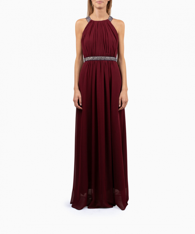 BCBG long dress rental Burgundy Stone. 2