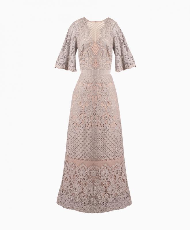 Location robe dentelle TADASHI SHOJI. Le créateur japonais signe une robe longue d'inspiration estivale grâce à sa couleur douce. 1