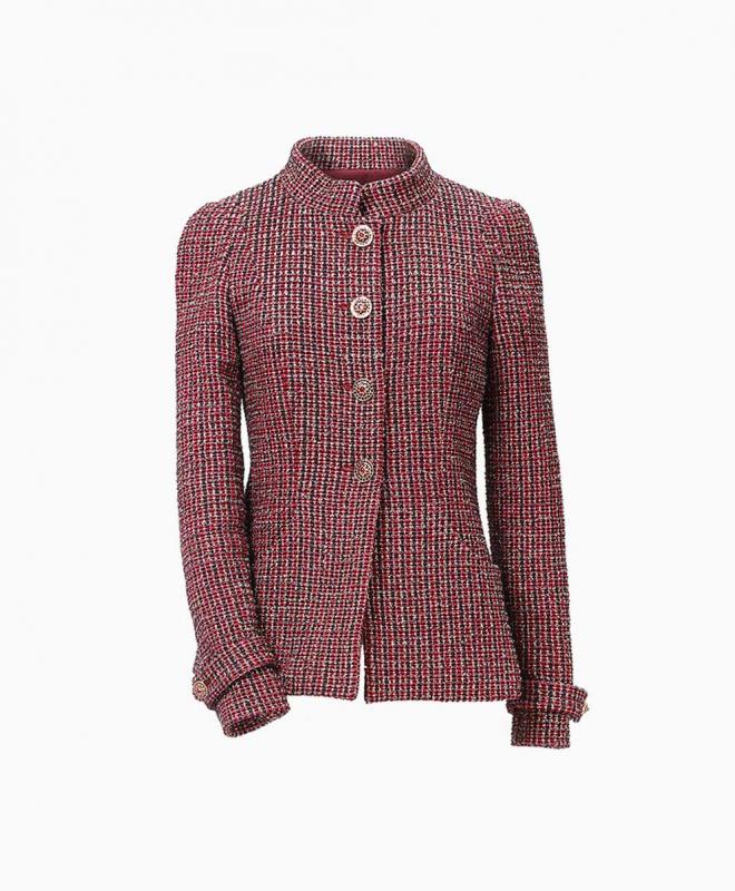 Location veste Chanel Tweed Bordeaux 1