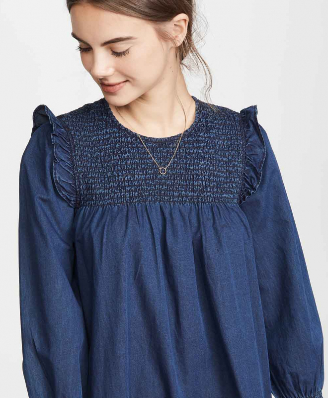 Location Robe MADEWELL Indigo Ruffle Neck Smocked Babydoll 4