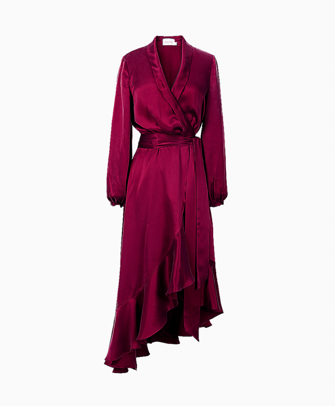 Location robe Zimmermann Wrap Flounce Bordeaux 1