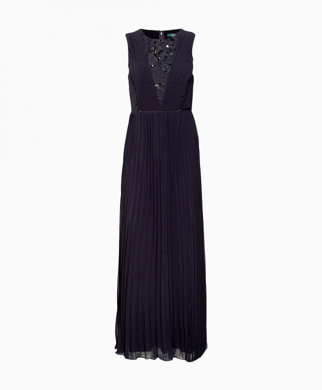 Robe longue Ralph Lauren Pleated Chiffon Gown 1