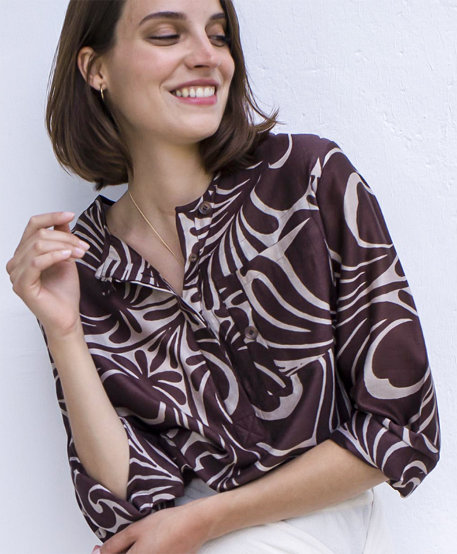 Location Chemise LAURENCE BRAS Primary Tile Brown 2