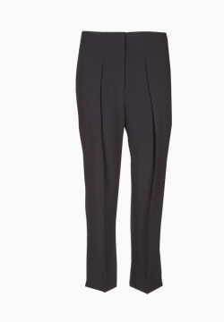 Pantalon droit taille haute en crepe