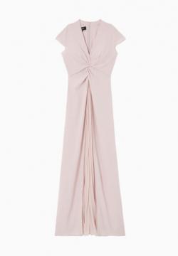 Robe longue drapée en crepe de satin